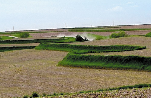 Terraced field requiring repeatable tracking